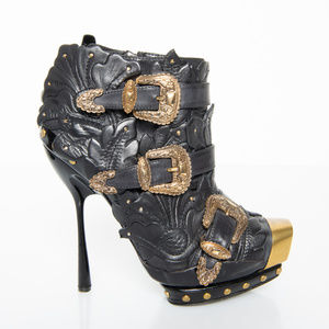 Alexander McQueen floral leather stiletto boots